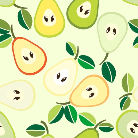 Simple seamless green pears background Stock Vector - 10849236