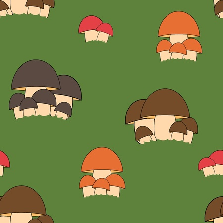 Seamless mushroom kids pattern in vector Vector