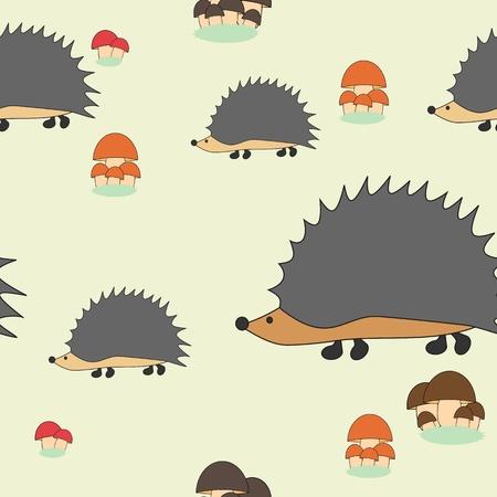 Seamless mushroom and hedgehogs kids pattern Vector