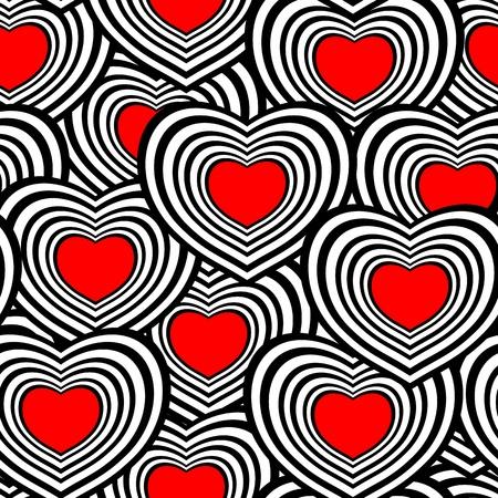 Retro black and white seamless heart background Vettoriali