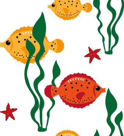 blanket fish: Seamless pattern with sea animals