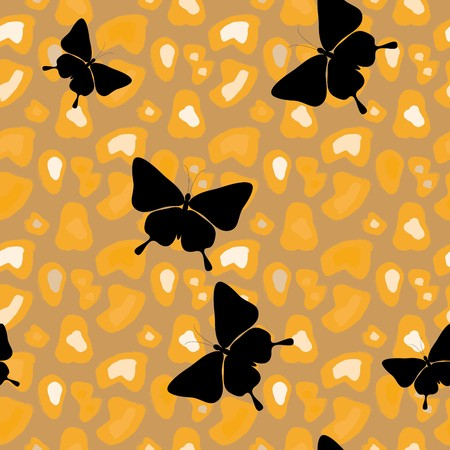 abstract seamless leopard pattern with butterfly Vector