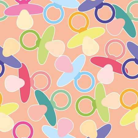 Seamless baby shower pattern with nipple Vector