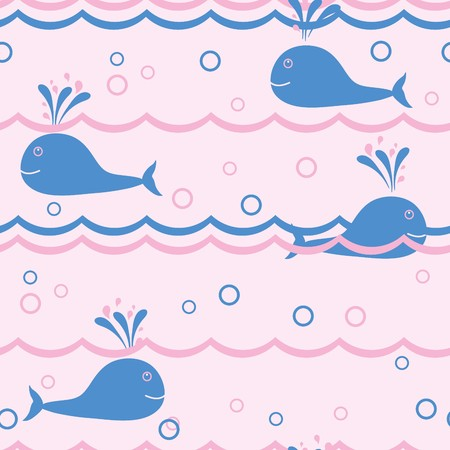 blanket fish: Seamless vector background with whales