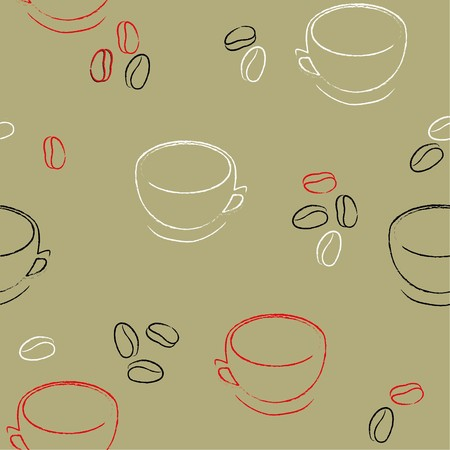 crunchy: Seamless background with coffee beans Illustration