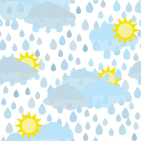 Rain doodles and hearts seamless pattern  caption