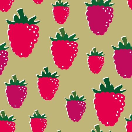 repetition: Raspberries repetition on brown background Illustration
