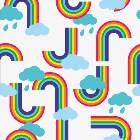 Clouds and rainbow cartoon wallpaper