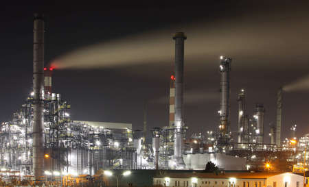 greenhouse gas: The Modern Petrochemical plant in night