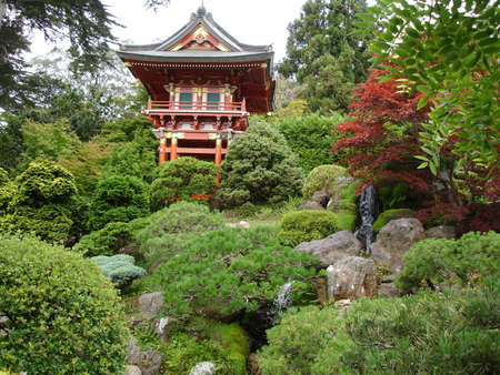 garden pond: The  Japanese garden with the typical house