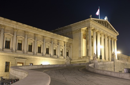 Austrian Parliament in Vienna at night  - Austria Stock Photo - 16465894