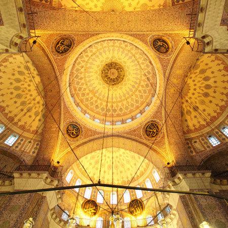 church window: The Golden mosque - interior   Yeni Camii in Istanbul