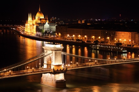 Budapest - Hungarian parliament and chain bridge - Hungary  Stock Photo