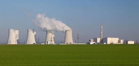 smoke stack: Nuclear power plant with big smoke stack