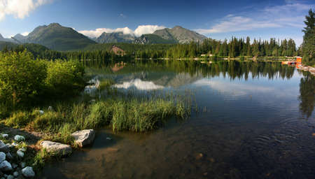 Strbske Pleso is nice lake in High Tatra - Slovakia Stock Photo