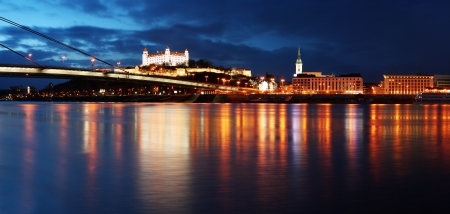 Bratislava at twilght -  panoramic view in Slovakia photo