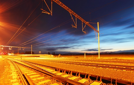 freight train: The modern Railway station at the dusk Stock Photo