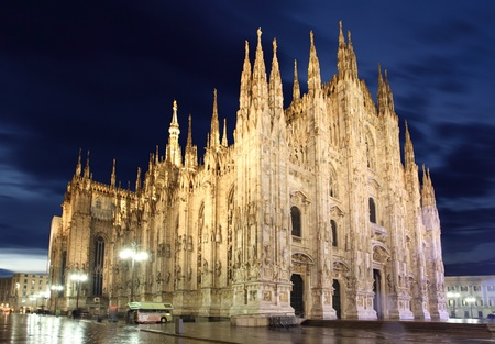 Milan historical cathedral dome in the night photo