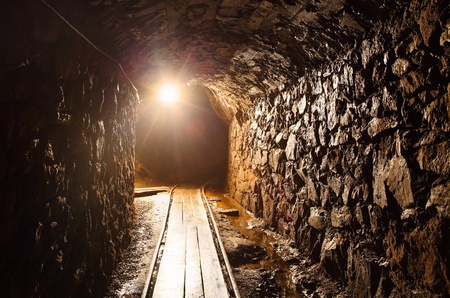 mine: Mine tunnel with path - historical gold, silver, copper mine in Banska Stiavnica - Slovakia
