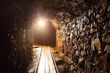 Mine tunnel with path - historical gold, silver, copper mine in Banska Stiavnica - Slovakia