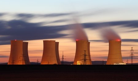 reactor: The  Nuclear power plant by a night Editorial