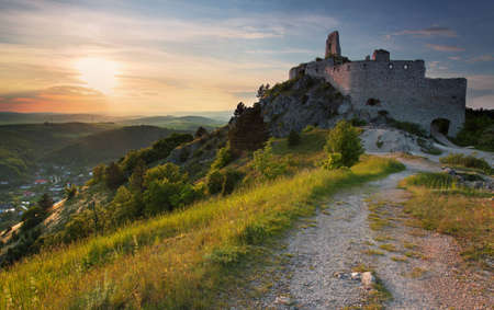 manor: The Ruin of the castle with the sun Stock Photo
