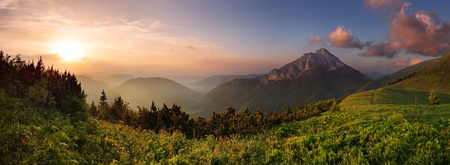 slovakia: Rozsutec peak in sunset - Slovakia mountain Fatr Stock Photo