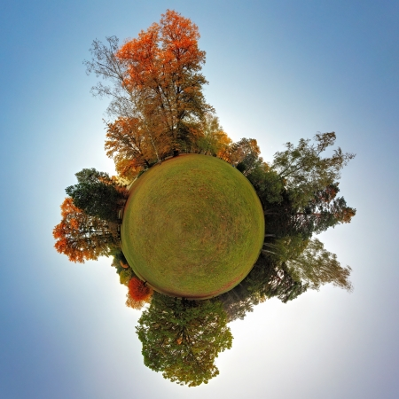 forest conservation: Little planet - Globe at autumn time - 360 degrees panorama