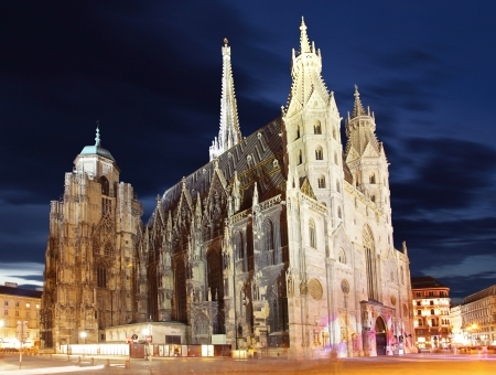 saint stephen cathedral: Stephan cathedral in Vienna at twilight, Austria Stock Photo