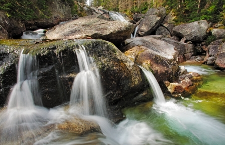 torrent: Waterfall in Tatra mountain, Slovakia - Studenovodsky