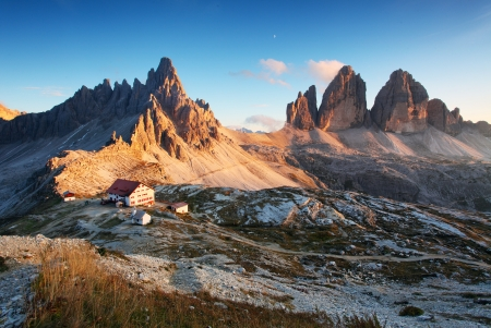 Dolomites mountain panorama in Italy at sunset  - Tre Cime di Lavaredo Stock Photo - 16466066