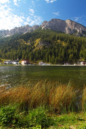 Misurina lake with Three Peaks in evening