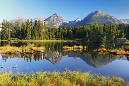 Mountain Lake in Slovakia Tatra - Strbske Pleso photo