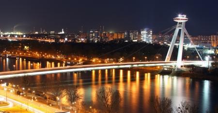 bratislava: Bratislava bridge at night, Slovakia Stock Photo