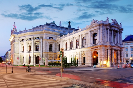 The state Theater Burgtheater of Vienna,  Austria at night Stock Photo