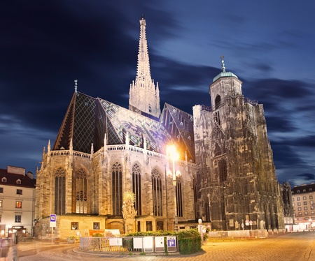 stephansplatz: Stephan cathedral in Vienna at twilight, Austria Stock Photo