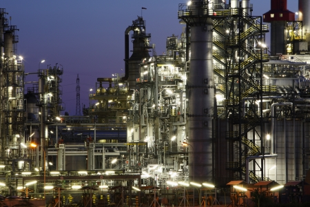 petrochemical: Petrochemical plant in night