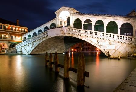 waterbus: Along Rialto Bridge, Venice at Night