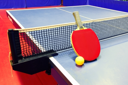 Equipment for table tennis - racket, ball, table, net photo