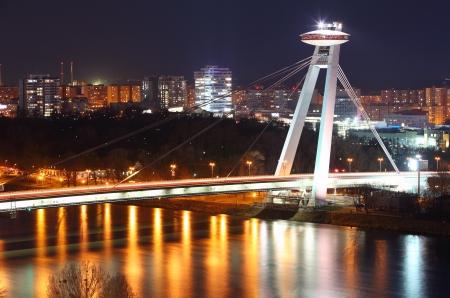 bratislava: Bratislava New bridge during night  Stock Photo