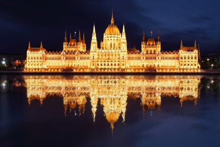 Budapest - Hungarian parliament with reflection in Danube river at night - Hungary photo