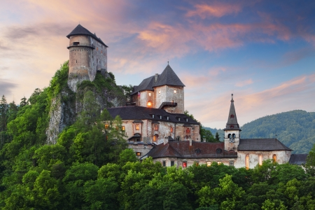 ghost rock: Beautiful Slovakia castle at sunset  - Oravsky hrad Editorial