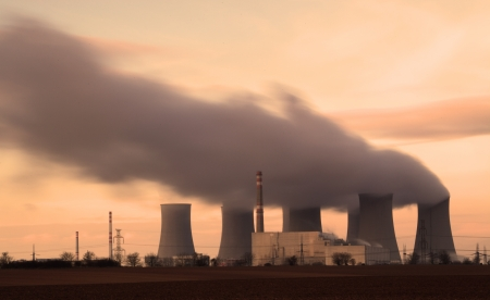 Nuclear power plant by night Stock Photo - 16218017