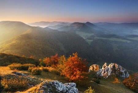 Landscape with rocky mountains at sunset Stock Photo