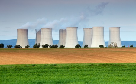Nuclear power plant with meadow Stock Photo - 16466121