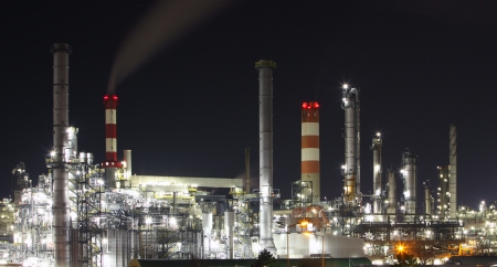 Oil and gas refinery at twilight -  Petrochemical factory photo