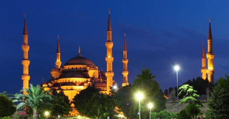 istanbul night: Blue Mosque at night in Istanbul