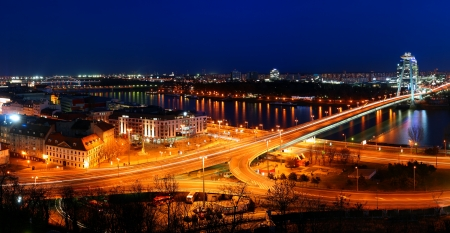 czechoslovakia: Bratislava bridge at night
