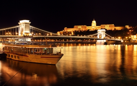 Budapest and chain bridge,Hungary