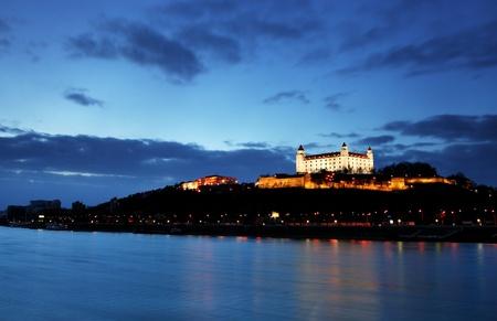 Bratislava castle and bridge - Slovakia, Stock Photo